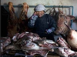 Mongolian butchers swamped with meat as herds are sold to pay debts, photo by John Chin WSJ